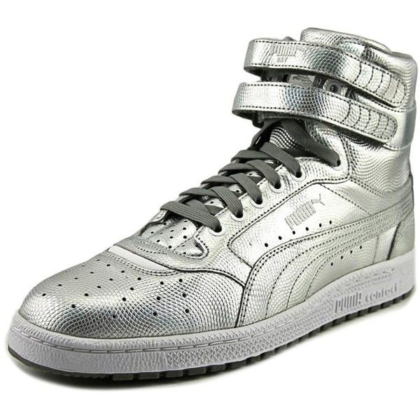 Puma Sky Ii Hi Holo Men Round Toe Synthetic Silver Basketball Shoe ($40) ❤ liked on Polyvore featuring men's fashion, men's shoes, shoes, silver, mens round toe shoes, low heel mens dress shoes, puma mens shoes, mens shoes and mens silver shoes