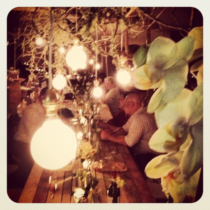 Mixture bulbs yellow & mint wedding on Bitou River www.eventsandtents.co.za
