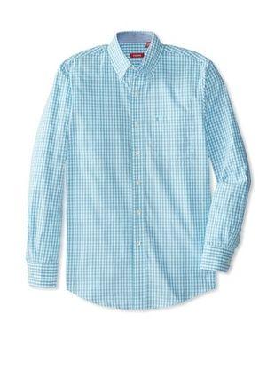 55% OFF IZOD Men's Long Sleeve Essential Check Woven Shirt (Maui Blue)