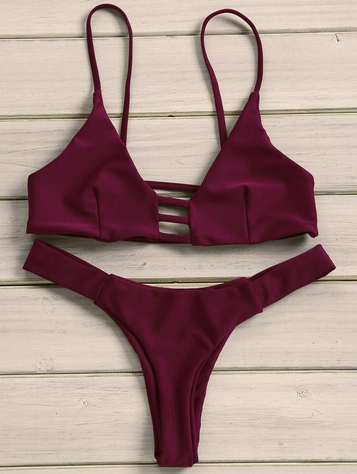 Sexy Women's Strappy Solid Color Bikini Set