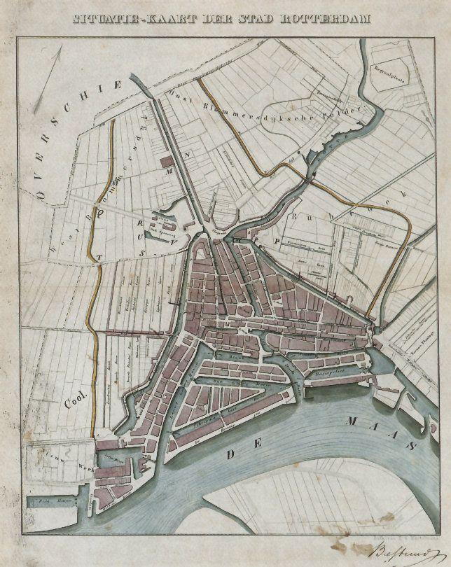 Kaart van Rotterdam 1854 (map)