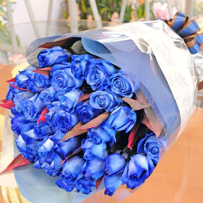 青いバラの花束 ブルーローズブーケ                                                                                                                                                                                 もっと見る