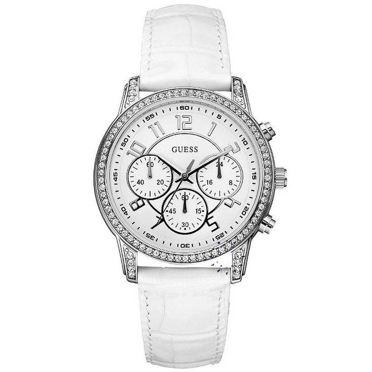 GUESS Crystal White Leather Strap Η τιμή μας: 169€ http://www.oroloi.gr/product_info.php?products_id=27642