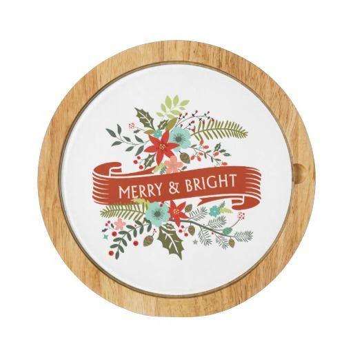 Navidad Felices y brillantes Cheeseboard floral