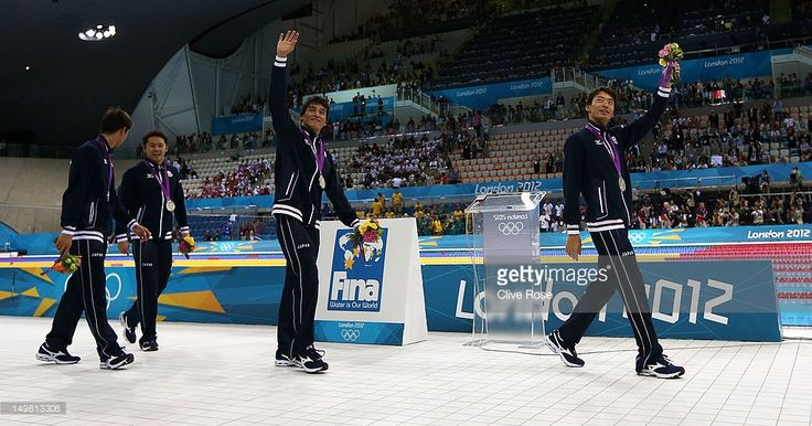 Silver medallists Takuro Fujii, Kosuke Kitajima, Takeshi Matsuda and Ryosuke Irie of Japan aknowledge the crowd following the medal ceremony for the Men's 4x100m medley Relay Final on Day 8 of the London 2012 Olympic Games at the Aquatics Centre on August 4, 2012 in London, England.