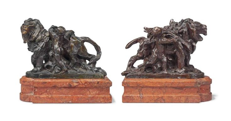 PAIR OF FRENCH PATINATED-BRONZE GROUPS OF LIONS ENTITLED 'LIONS DU PONT ALEXANDRE III' CAST BY HEBRARD FROM THE MODELS BY AIME JULES DALOU (1838-1902), CIRCA 1922 Each signed 'DALOU' and stamped 'CIRE / PERDUE / A.A. HEBRARD' and numbered '(1)' and '(2)' respectively, on a pink marble plinth, the group numbered '(1)' with an old torn inventory label inscribed in black '...3...' 4 ¼ in. (10.5 cm.) high; 5 7/8 in. (15 cm.) wide; 2 ¼ in. (5.5 cm.) deep; 6 in. (15 cm.) high, overall