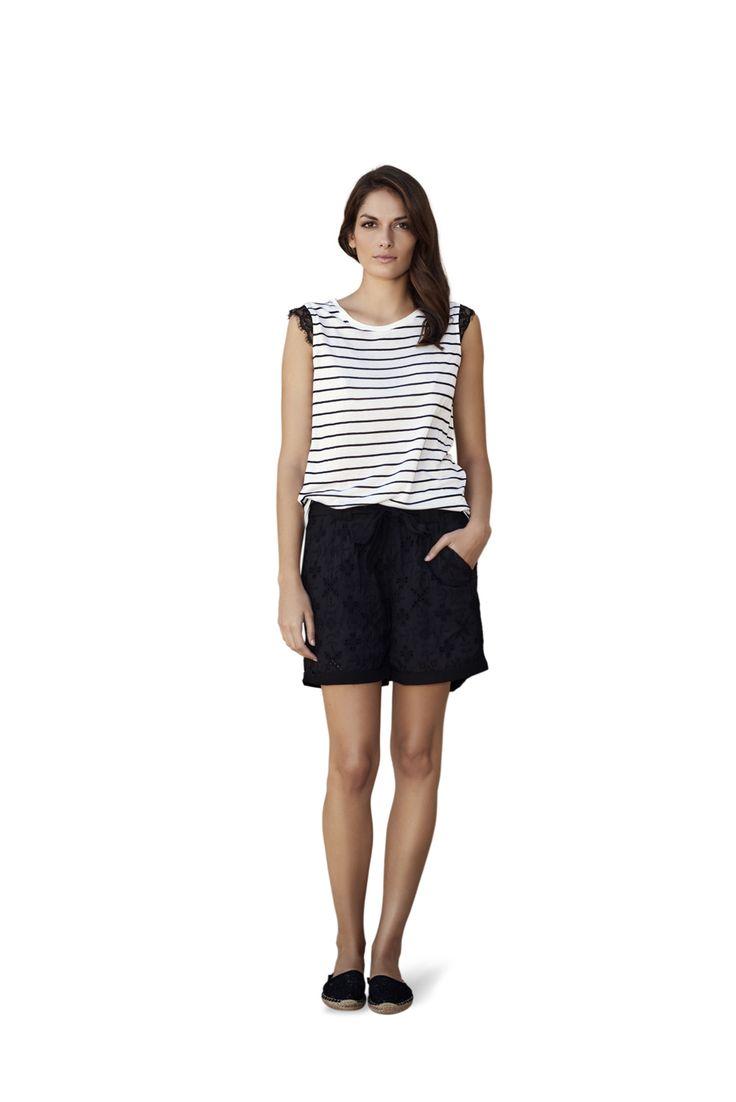 soyaconcept - top - blouse - lace - stripe - shorts