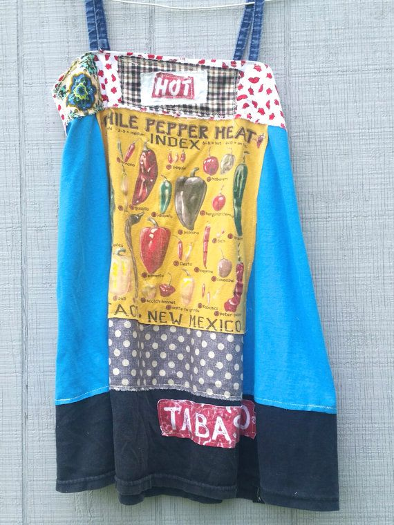 Tabasco Hot Pepper funky patchwork knit floral tunic by CreoleSha
