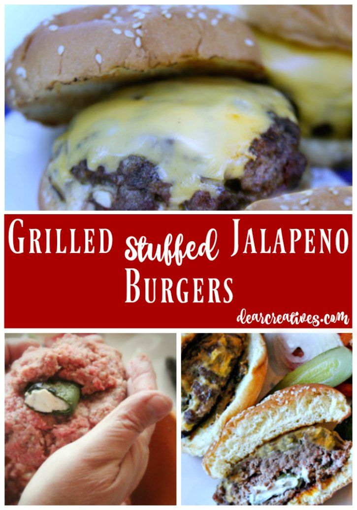 Ground Beef Recipes Grilled Stuffed Jalapeno Burger This is an easy recipe that will kick your summer grilling up a k-notch! It's not overly spicy as we have seeded our jalapenos.The jalapenos are grilled and stuffed with cream cheese, the burger topped with American cheese. This is one tasty, juicy burger. You have to try this! Grab the recipe now and don't miss kicking up your summer grilling skills!