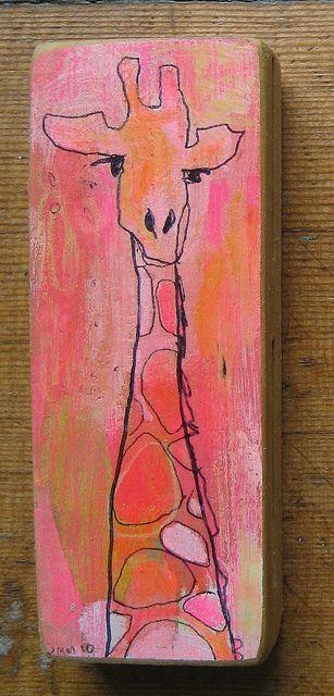 Sharpie Giraffe on painted canvas