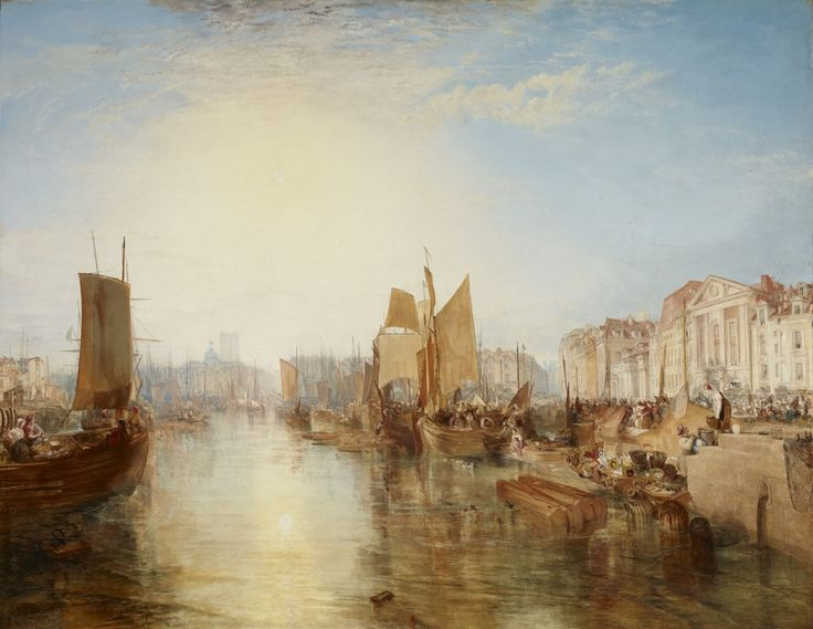 """J.M.W. Turner, """"Harbor of Dieppe: Changement de Domicile"""" (exhibited 1825, but subsequently dated 1826), oil on canvas, 68 3/8 x 88 3/4 inches (the Frick Collection, New York; photo by Michael Bodycomb)."""