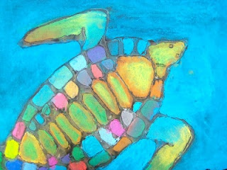Glue line & pastel sea turtles. Would love to do glue/chalk turtle oer water + oil + watercolor painted background