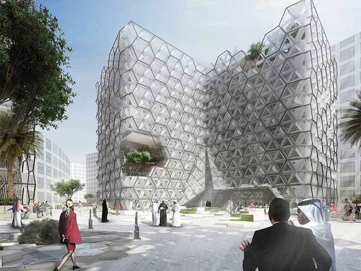 """Adaptable facade with hexagonal parametric pattern for """"Chameleon"""" mixed-use office"""
