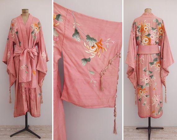1920s Kimono Vintage 20s Pink Silk by GoldenCraneVintage on Etsy