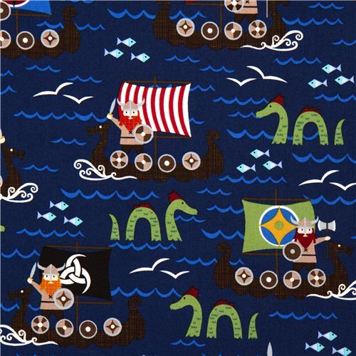 navy blue viking organic fabric with boat sea monster USA