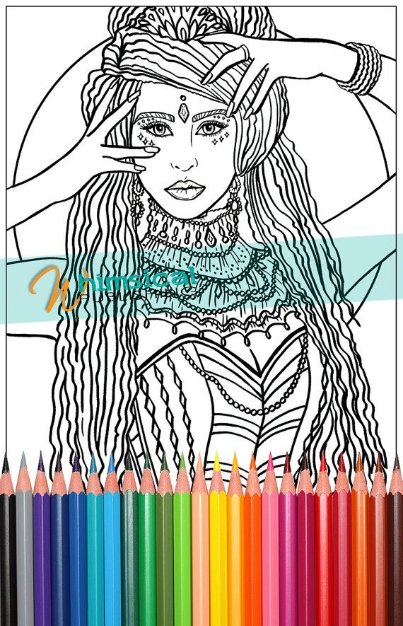 Gypsy Queen Coloring Pages Fashion Flowers Princess Grown