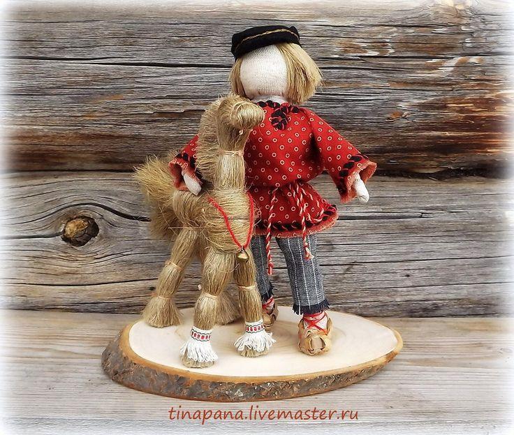 """Купить Авторская кукла """"Юность"""" - комбинированный, конь, мальчик, парень, ЮНОСТЬ, лён, хлопок, дерево"""