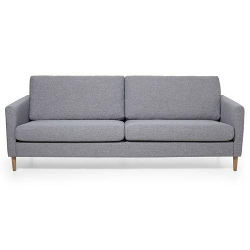 Canapé 3 places en tissu avec pied bois Adagio - Gris chiné