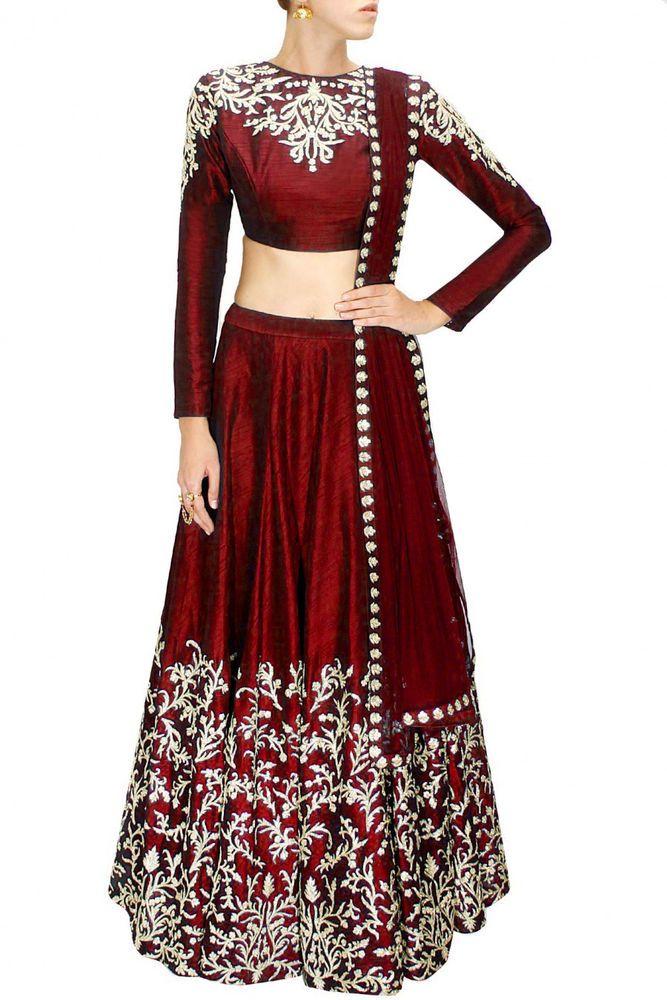 Bollywood Party Wear Lehenga&Designer Maroon Lehenga Choli-semi-Stitched Lehenga #fashion #Lehengacholisaritype
