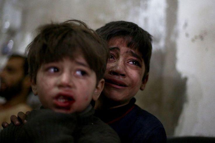 Bilder, Tages, Douma,, Syrien., Luftangriffen, Kinder, Krankenhaus, Hauptstadt, Damaskus, Behandlung.