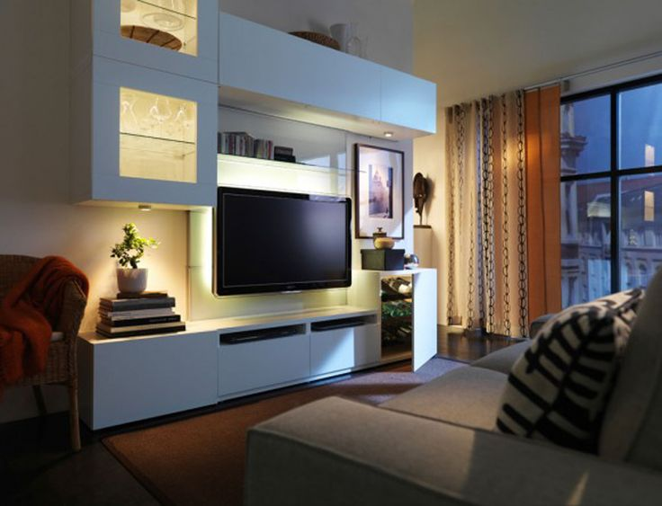 Adorable IKEA Living Room Design Ideas : Modern White IKEA Living Room Decorating with White IKEA Living Cabinet and Urban Views