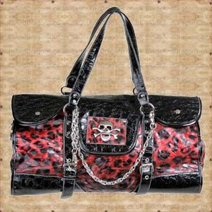 A large black purse bag with red leopard print and skull n crossbones on the front. Complete with buckles and chains, this bag really stands out. The Leopard Print Crossbones Handbag by Queen of Darkness in the Skulls and Dragons bag range.    Ref : SDABA29108   Price : 34.99 GBP