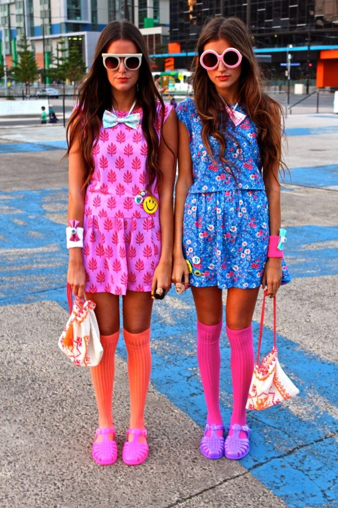 knee high socks and jelly shoes