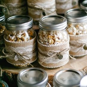 Popcorn Mason Jar Wedding Favors.