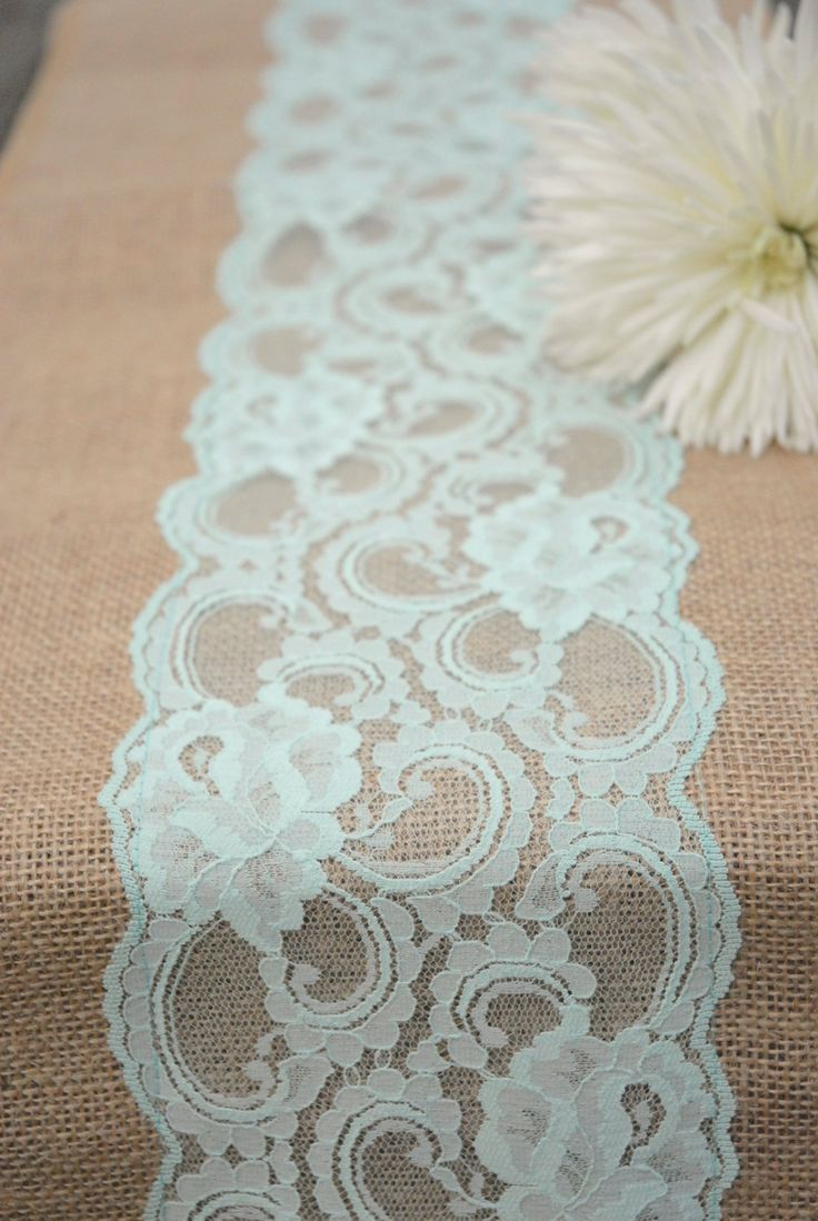 """Vintage Antique Mint, Peppermint, Pastel Spring Wedding Lace Burlap Runner 12""""x108"""".  Country, Shabby Chic, Vintage, or  Rustic Wedding. via Etsy."""