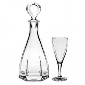 Set sticla si pahare vin cristal - VICTORIA