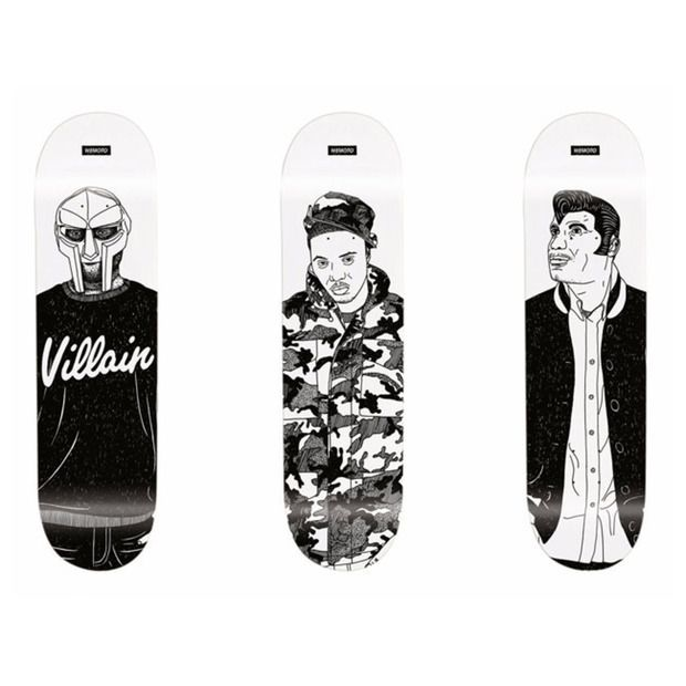 Wemoto Clothing: Rap Idols Series: Cartoonish skate decks that capture the style of hip-hop icons Kool Keith, Nas and MF Doom