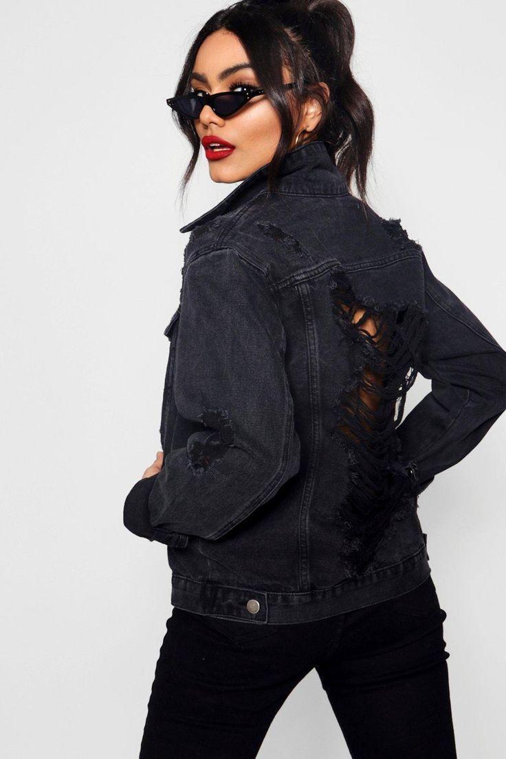 Black Oversize Distressed Denim Jacket Boohoo Oversized Distressed Denim Jacket Distressed Denim Jacket Womens Jackets Casual