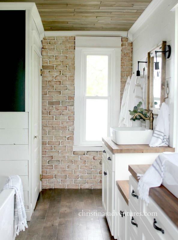 How to install brick veneer | brick veneer wall shiplap and wood ceiling bathroom design.