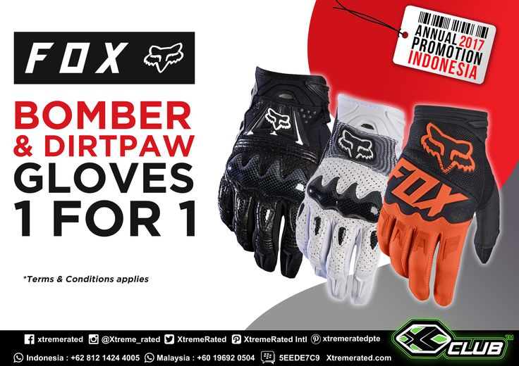 2017 Annual Promotion Indonesia FOX Bomber and Dirtpaw Gloves Buy 1 Get 1 Free Available in all XCLUB leading stores  #xtremerated #xclub #foxracing #gloves #indonesia
