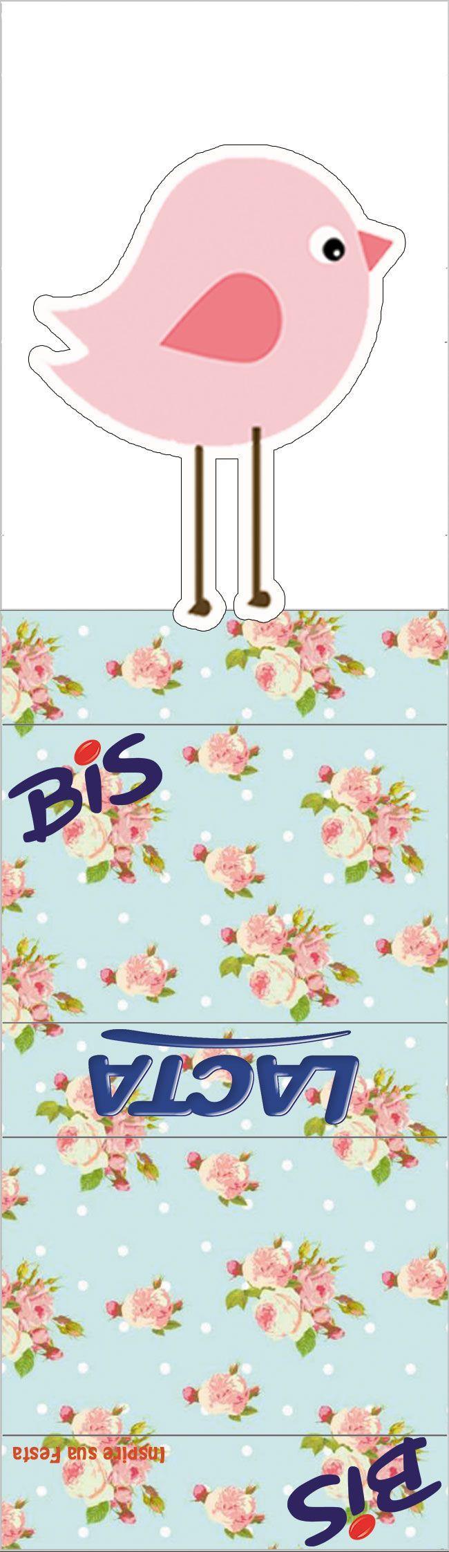 Passarinho Provençal Rosa e Azul – Kit digital gratuito – Blog Inspire sua Festa ®