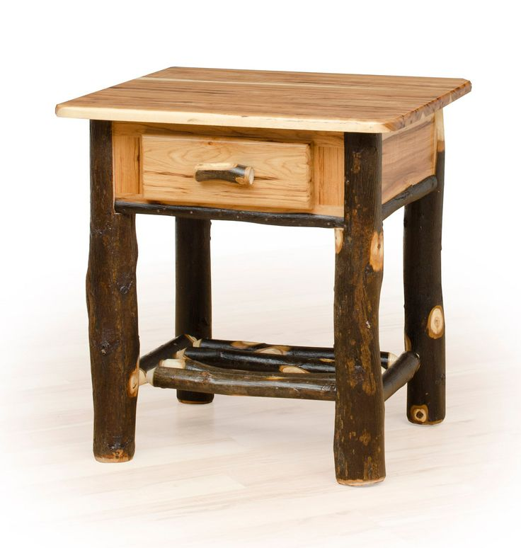 Rustic Hickory Log Nightstand With 1 Drawer   Great Rustic Styling Is  Perfect For A Hunting
