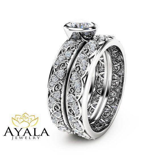 Vintage Engagement Ring 14K White Gold Bezel Set by AyalaDiamonds