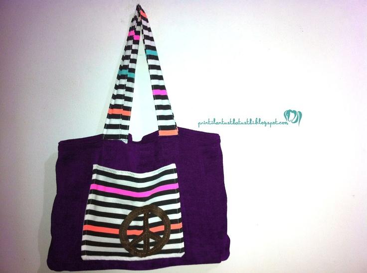 stripe Printiland tote bag