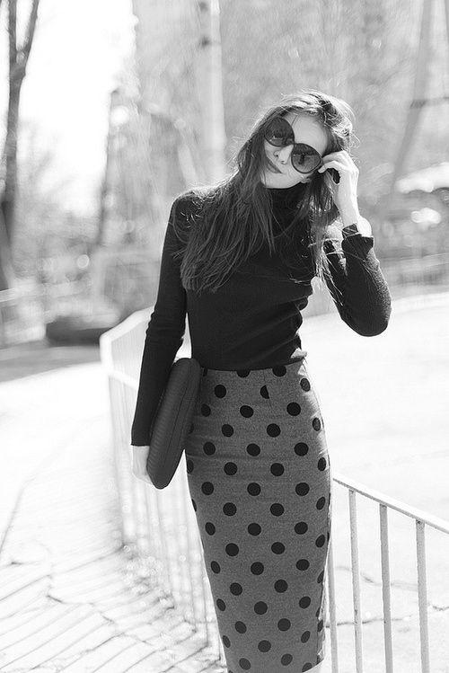 polka dot pencil skirt