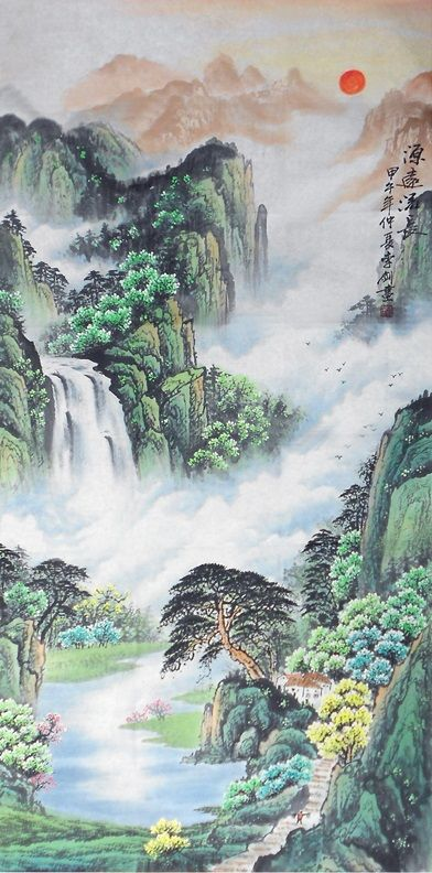 Chinese Painting Xuan Paper Feng Shui Traditional Nature Landscape Painting Chinese Landscape Painting Landscape Paintings Chinese Landscape