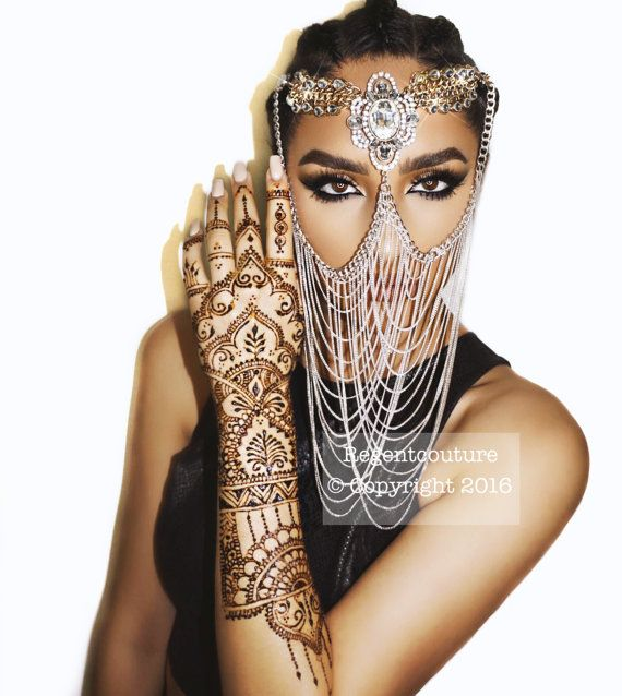 Diamond Face Veil Chain Silver Bottom by RegentCouture on Etsy