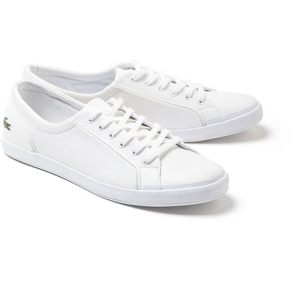 Lacoste Women's Lancelle Sneakers ($95) ❤ liked on Polyvore featuring shoes, sneakers, sneakers sneakers, sports trainer, white leather shoes, sport sneakers, sports shoes and white sneakers