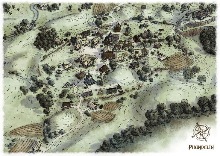 The village of Phandalin from the D&D Starter set scenario, the Lost Mines of Phandelver. I wanted an un-labelled version of the map for the players so that they could discover what each buildi...