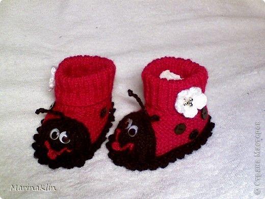 """Мастер-класс,  Вязание, : МК пинетки """"Божьи коровки"""" Бусинки, Пряжа, Пуговицы . Фото 1: Kids Crochet, Bugs Booty, Knitwear Crochet, Crochet Woman, Ladybugs, Класс Вязание, Lady Bugs, Knits Projects, Crochet"""