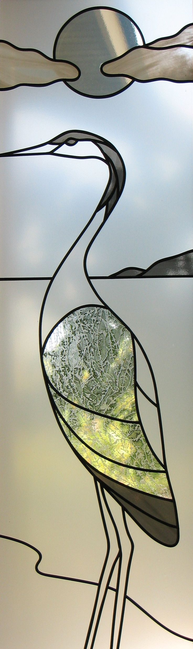 They are such inspiring birds! Stained glass heron in clear textures