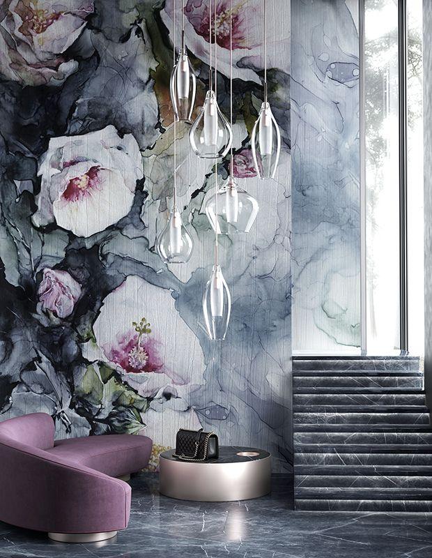 Duze Kwiaty Bialo Niebieskie Na Klatce Schodowej Wonderwall Abstract Artwork Backdrops