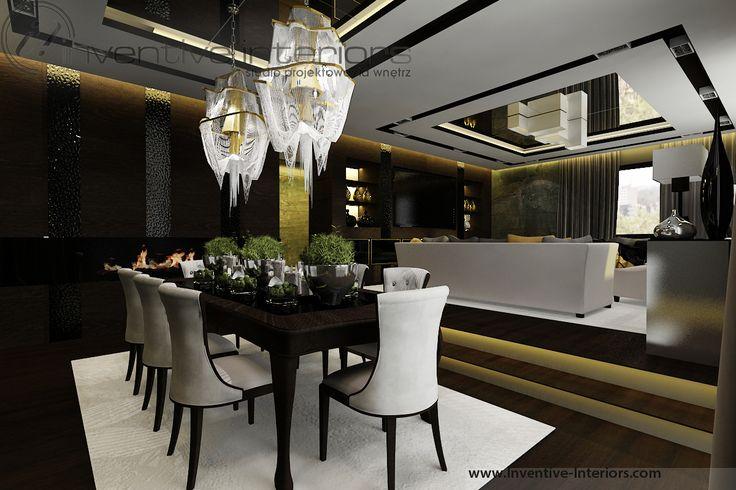 Projekt apartamentu 130m2 Inventive Interiors - ciemna klimatyczna jadalnia - kominek w jadalni - tapicerowane krzesła