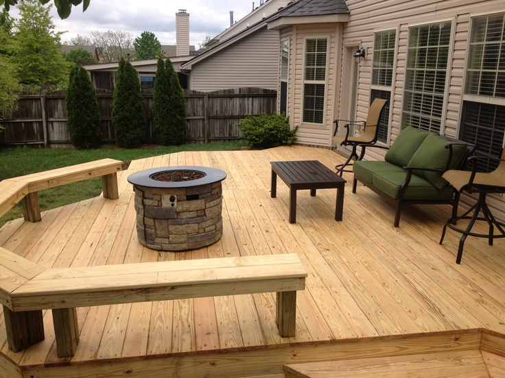 Nice Premium Wood Deck with Bench multilevel | Outdoor ... on Wood Deck Ideas For Backyard  id=14903