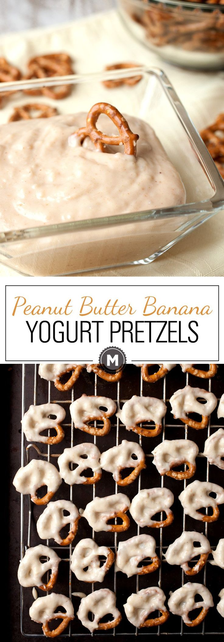 Peanut Butter Banana Yogurt Pretzels: A quick and easy 4-ingredient pretzel dip that's just sweet enough to be super-addictive. A great easy snack for kids, but adults will love the sweet and salty combo as well! | macheesmo.com