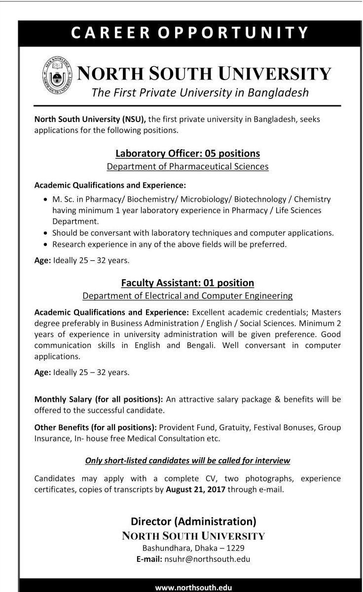 Job Circular At North South University as a Laboratory Officer